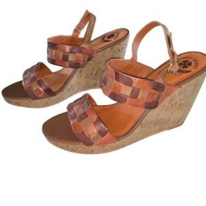 Lucky Brand Patchwork Wedge Sandal Size 9.5